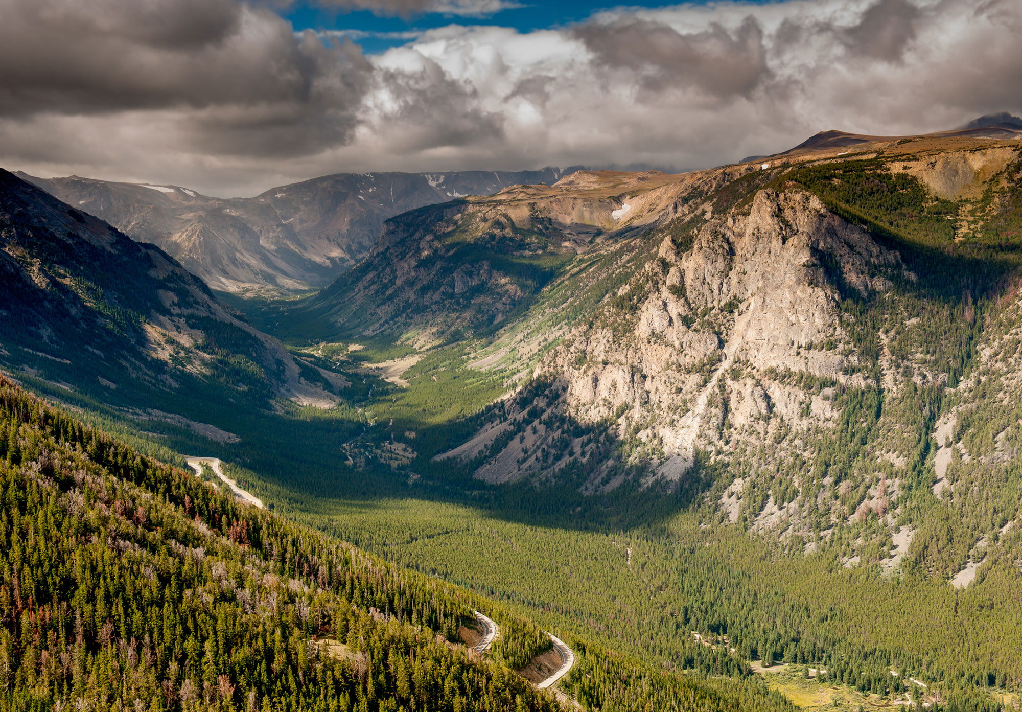 Sweeping landscape view of the Beartooth Highway in Yellowstone Country Montana.