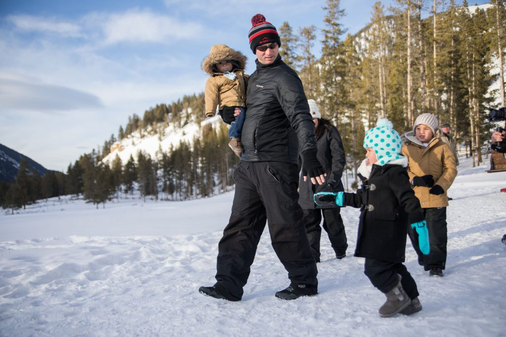 Family enjoys the winter in Yellowstone Country Montana