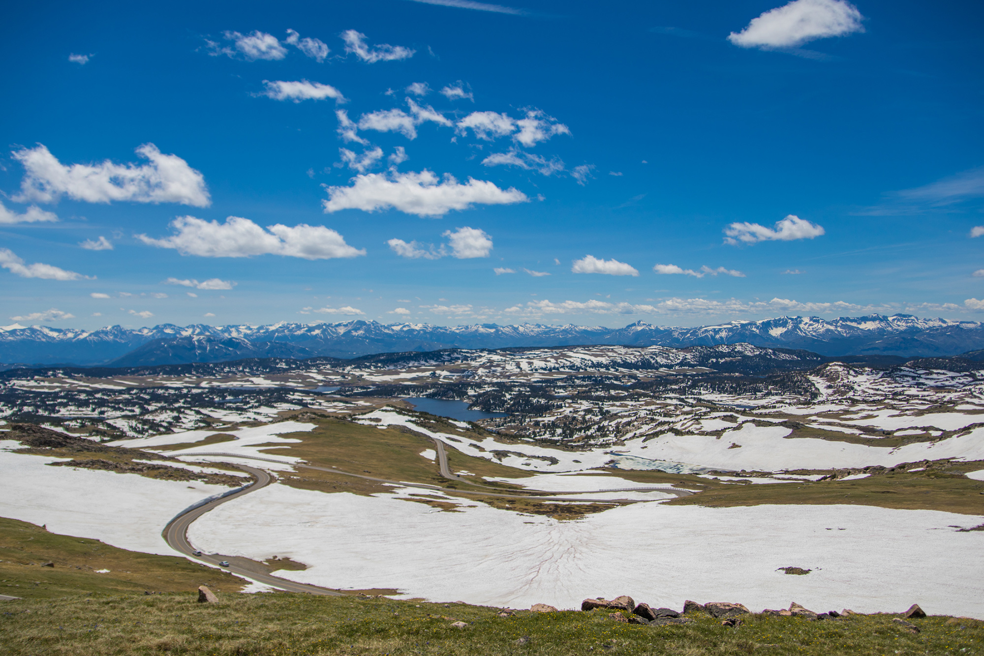 Snowy terrain on Beartooth Highway in Yellowstone Country Montana.