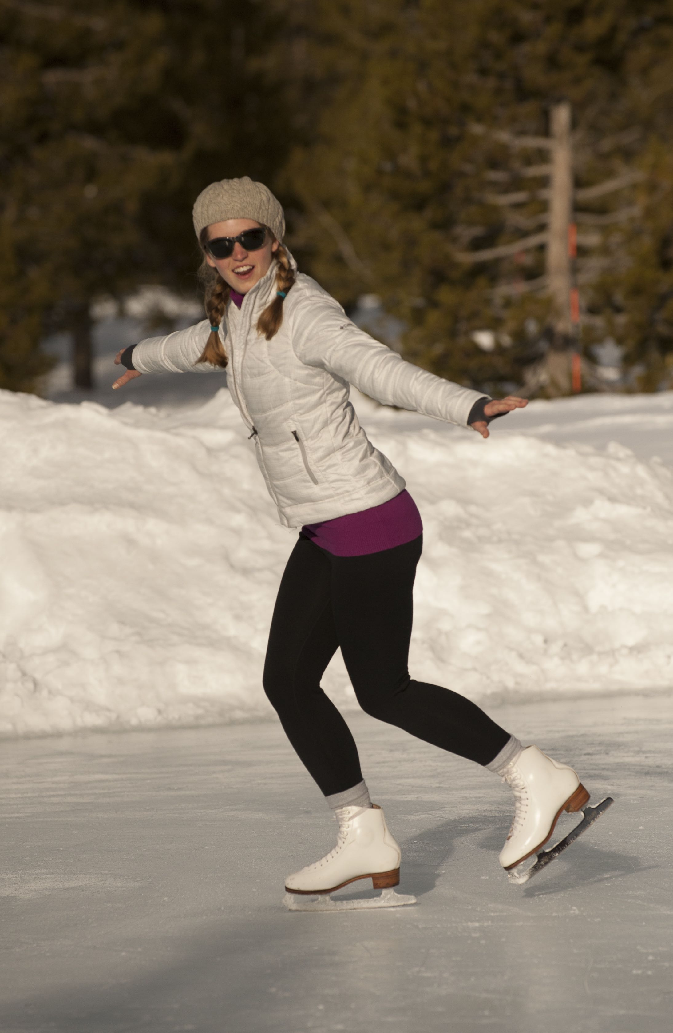 An ice skater in Yellowstone Country Montana