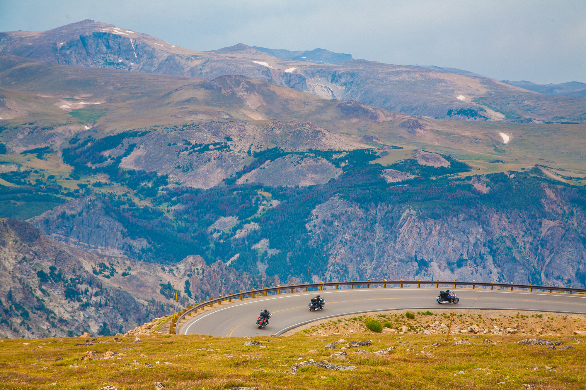 Motorcyclists on Beartooth Highway in Yellowstone Country Montana.
