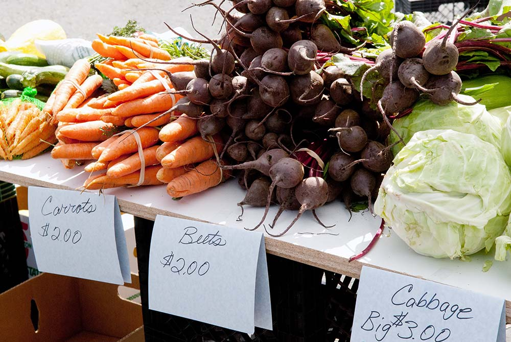 Veggies available at one of Yellowstone Country Montana's farmers markets near Yellowstone National Park