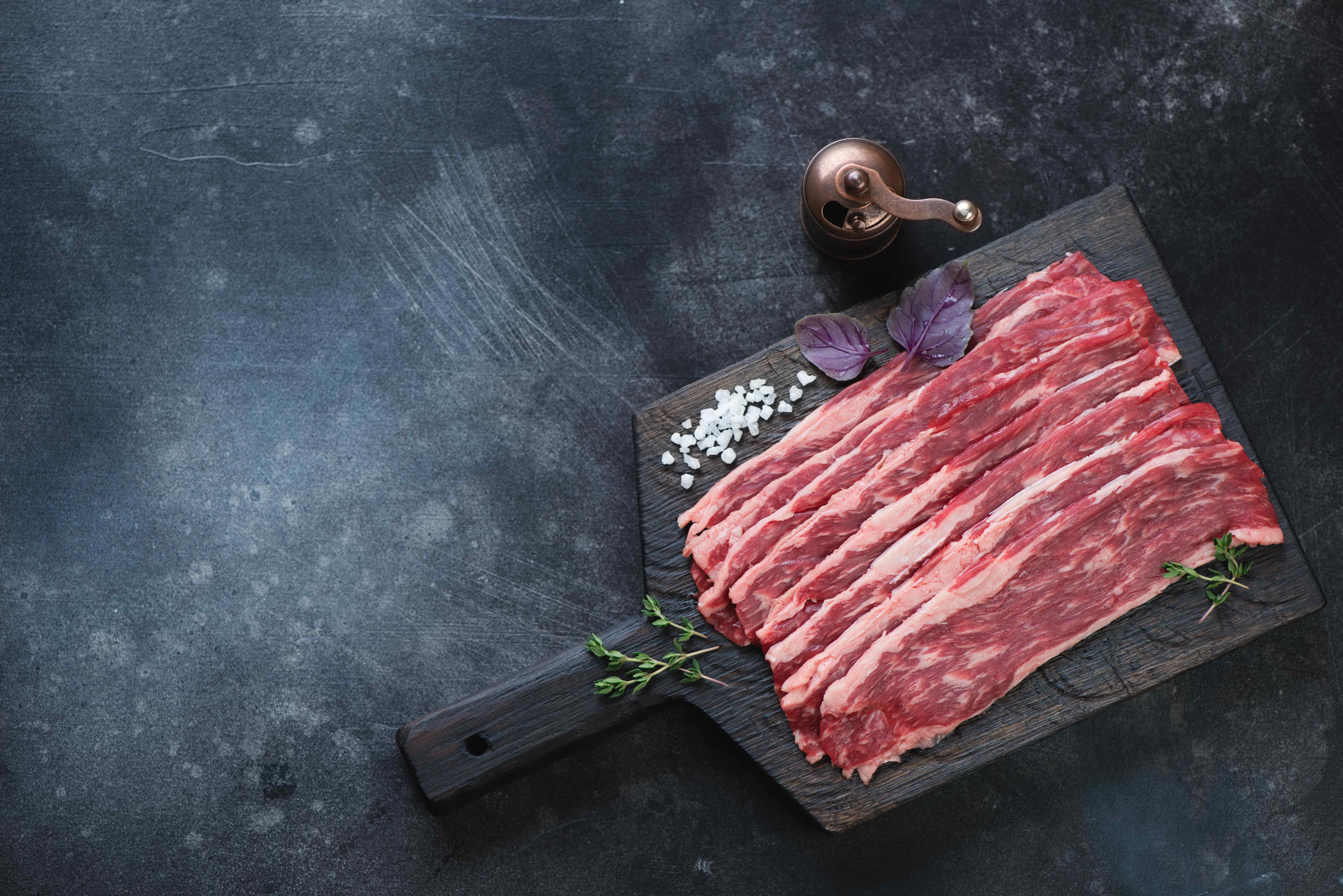 Beef bacon is available at farmerks markets in Yellowstone Country Montana