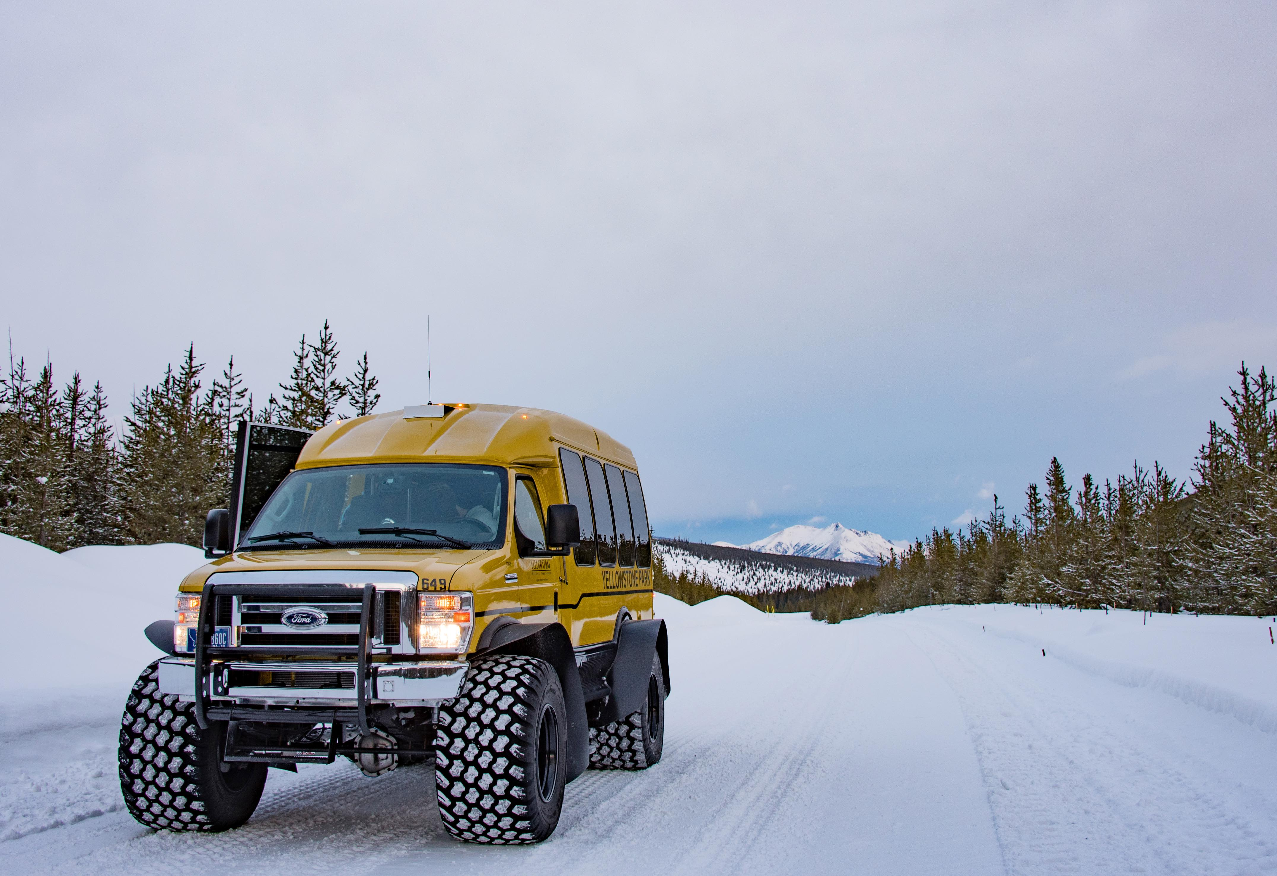 A Snowcoach in Yellowstone National Park